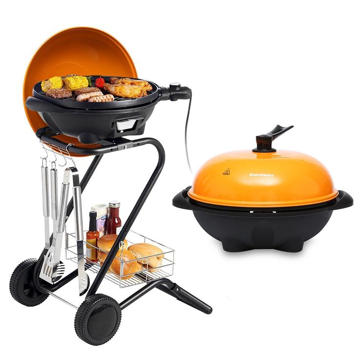 Amazon.com: Excelvan Portable 1350W Electric Barbecue Grill with 5 Temperature Settings Ideal for Indoor and Outdoor Use, Smokeless, Non-stick, Easy to Clean, Black: Patio, Lawn & Garden