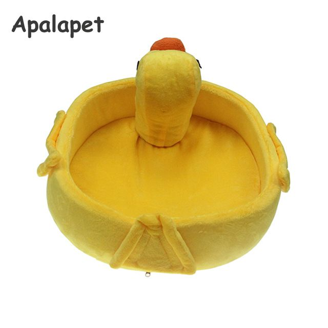 Funny Yellow Duck Small Pet Dog Cat Bed House For Chihuahua Kennels Animals Shape Fleece Dog Puppy Bed Nest Dog Cushion Mat