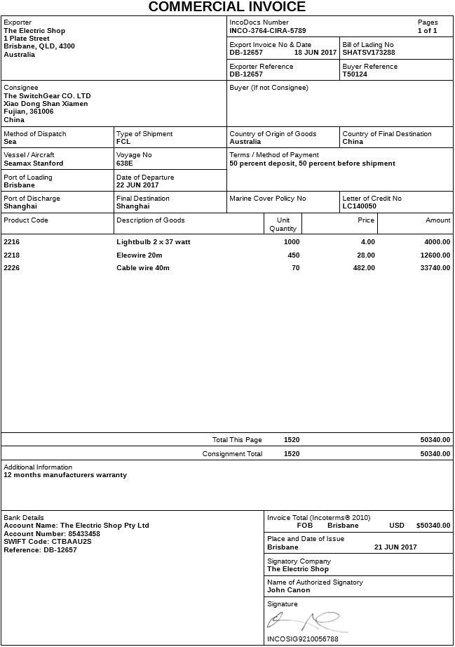 invoice document