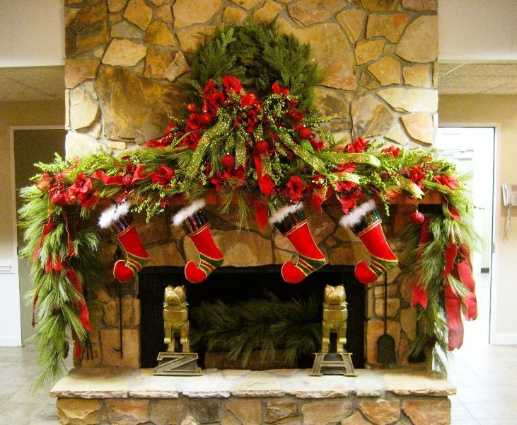 Christmas Fireplace Mantels Decor And Mantels On Pinterest