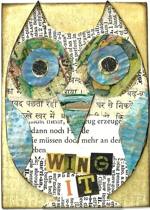 I love ANYTHING with owls and words together....  Wing It Owl Collage @ PaperPetite.etsy.com