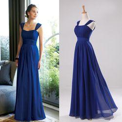 Online Shop Azul marino boda De dama De honor vestido largo magnífico cintura alta De doble hombro gasa Vestidos De Novia Vestidos Longos|Aliexpress Mobile