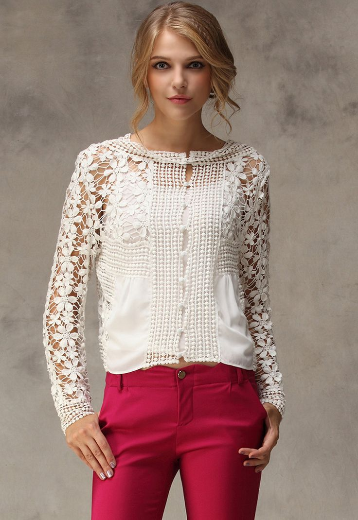 White Long Sleeve Floral Crochet Hollow Blouse 24.17
