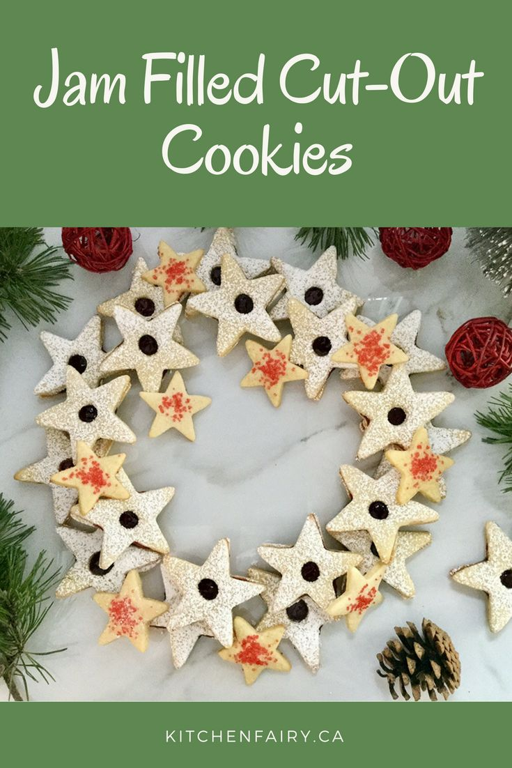 Star-shaped cookies filled with raspberry jam are the perfect treat to sweeten up the festive season. Jewel-like raspberry jam is sandwiched between two moist and chewy vanilla-scented buttery cookies and a sprinkle of icing sugar adds a little glitter and more sweetness.