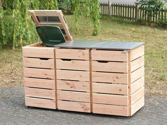 3er Mülltonnenbox Edelstahl / Holz - Deckel, für 120 L & 240 L Mülltonnen, Natur