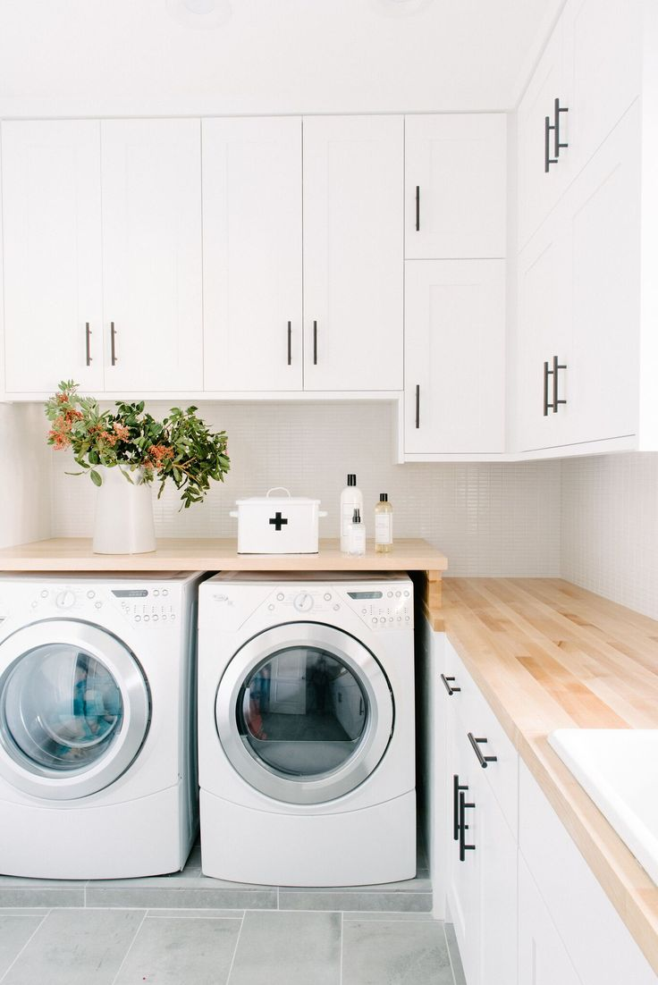 Laundry Room Before and After Pictures | Bright, open clean laundry remodel