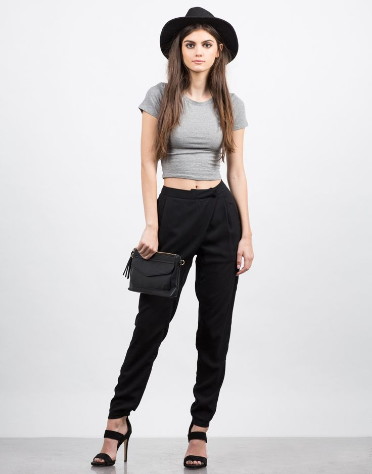 Front View of Crossover Chiffon Pants
