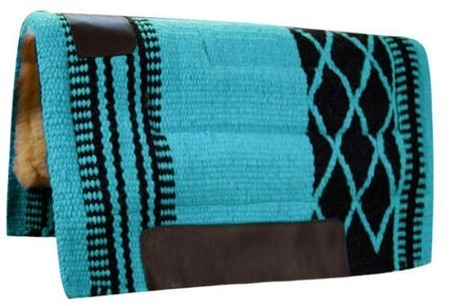 "34""x36"" Teal Black Wool Top Western Cutter Style Saddle Pad New Horse Tack