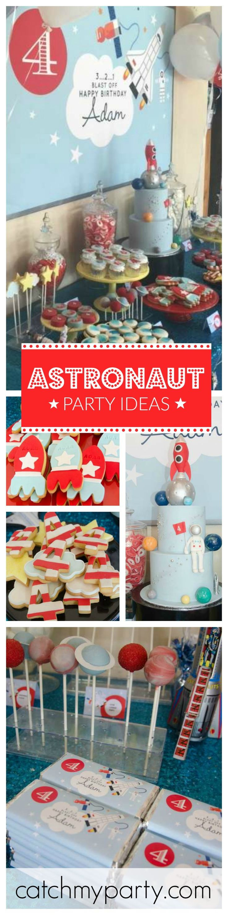 Blast Off into Outer Space with this cute Astronaut Birthday Party! Just how adorable are the Planet Cake Pops?!