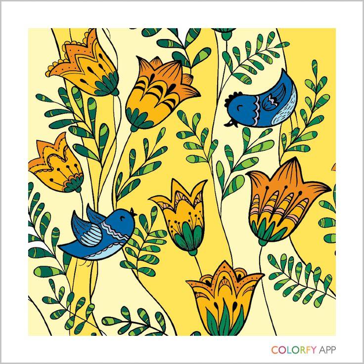 Birds Frolicking In Tulips