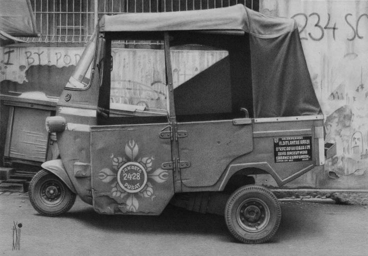 Old Bajaj by toniart57 on DeviantArt - Indonesian vehicle - done in pencil, 5 day