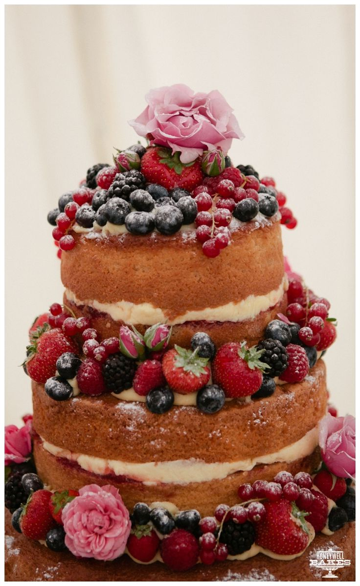 Naked Wedding Cake 4 Tier Sponge With Buttercream Flowers And Fruit