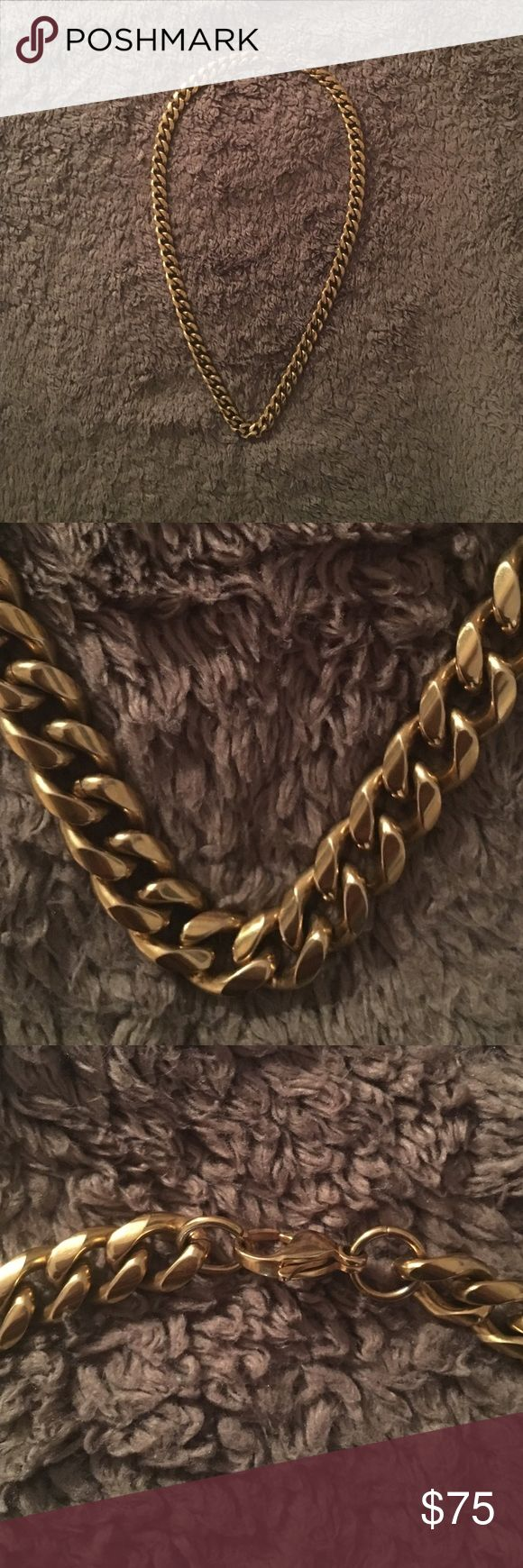 "Gold Plated Chain 18"" Gold Plated neck chain. 1/2"" thick. Gold Gods Accessories Jewelry"