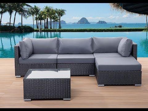 Meble ogrodowe czarne - rattanowe - sofa rattanowa - SANO
