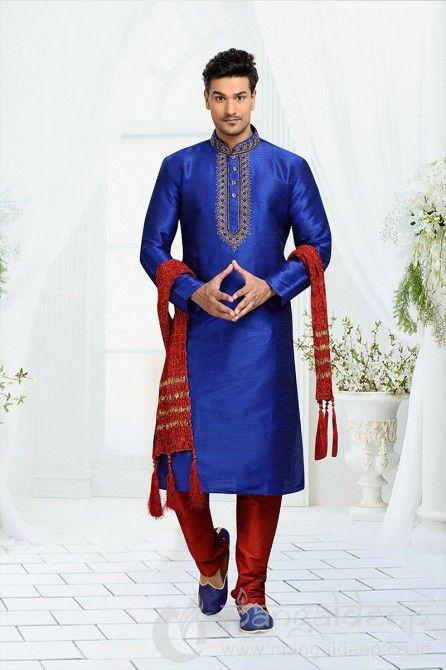 Blue Dhupion Art silk Festive Kurta