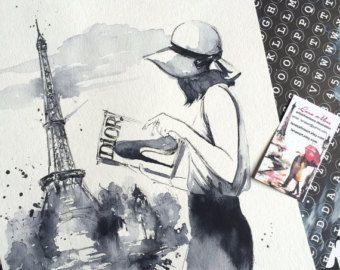 Puesta de sol en Londres acuarela ilustración de por LanasArt
