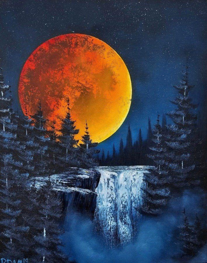 Moonlit Falls Oil 16x20 Canvas Art Landscape Art Painting Acrylic Painting Canvas Bob Ross Paintings