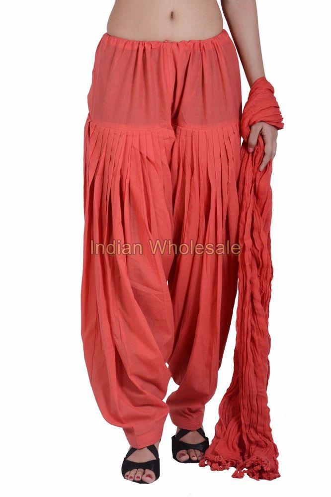 Indian Women Peach Patiala Salwar Pants with Dupatta Stole Set IWUS #Handmade #CasualPants
