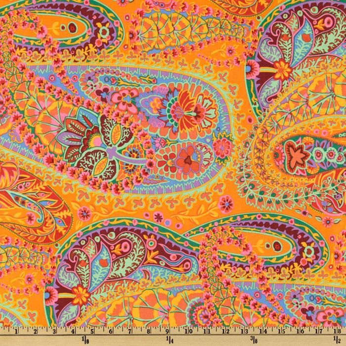 Kaffe Fasset tangerine paisley fabric. This one made me gasp in awe...and I'm not fond of orange, either!  This fabric has all the colors I want on the chairs and table! I have ordered it. :)