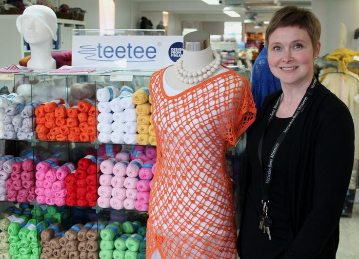 """TeeTee has a heavenly selection of yarns in every colour! You'll get great knitting tips from Niina Kaakkurivaara, who also designs yarns and knitting patterns. Here she is with """"Jodie"""", a lopsided summer tunic beauty. www.visitporvoo.fi"""