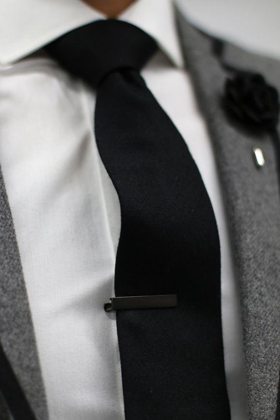 Mens fashion grey blazer with black trim white shirt for Black shirt black tie