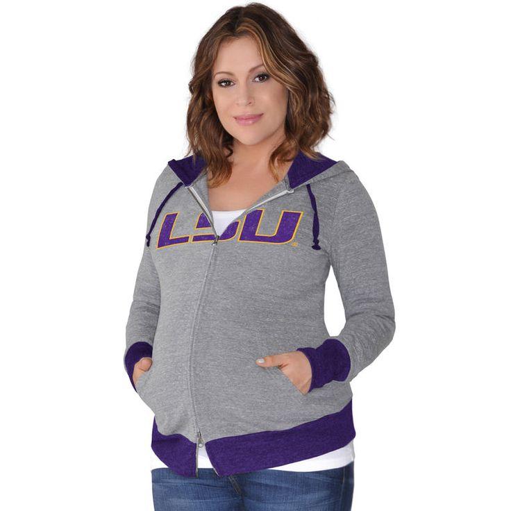 LSU Tigers Touch by Alyssa Milano Women's Maternity Hat Trick Full-Zip Hoodie - Gray