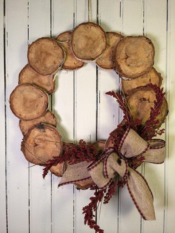Wood Slice Wreath Woodsy Cabin Wreath Rustic by marigoldsdesigns
