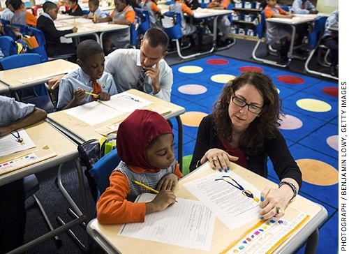 Eva Moskowitz, founder and chief executive officer of Success Academy Charter Schools, visits one of the network's classrooms
