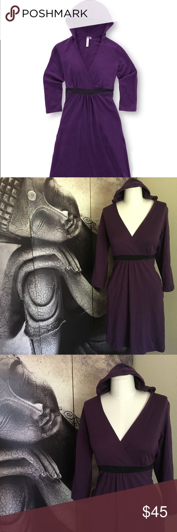 """ibex Slate Purple Indie Merino Wool Hooded Dress Cute women's sporty Indie dress by Ibex. Eggplant. 3/4 sleeves. Hooded. Convenient side seam pockets. Has stretch.   Measurements are approximate.  Laying flat:  Armpit to armpit: 14"""" Waist: 14"""" Length: 35"""" Fabric: Merino Wool Ibex Dresses Midi"""