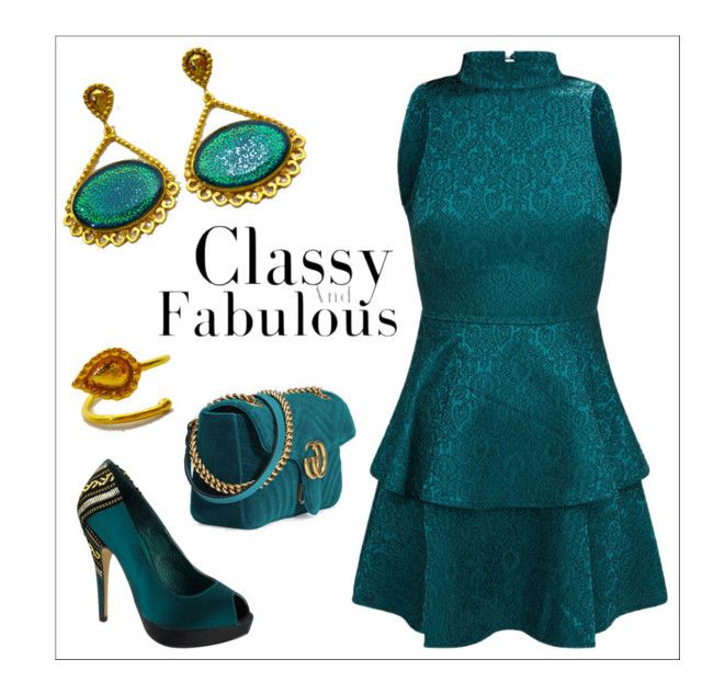 """""""Teal Outfit - Evangelos Jewellery"""" by evanangel on Polyvore featuring Menbur and Gucci, Evangelos Jewellery"""