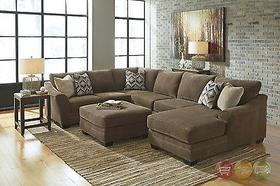 Justyna Teak Deluxe Brown U Shaped Sectional Sofa With Ottoman By Ashley 89102