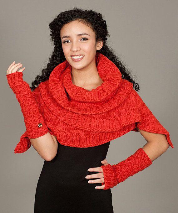 Rococo Knit Shawl & Gauntlets -- an Elena Rosenberg Wearable Fiber Art original