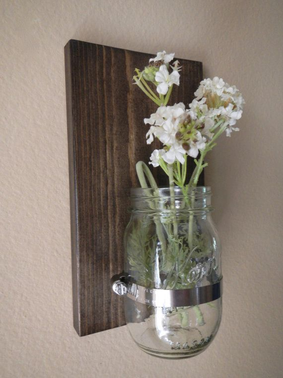 FATHER'S DAY Rustic style handcrafted wooden wall sconce for candles, flowers, household storage, etc with mason jar on Etsy,