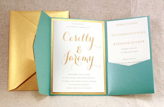 Wedding Invitation Lovely Teal Peacock Blue by WeddingMonograms, $3.00 In navy and gold. Can order a sample and swatches