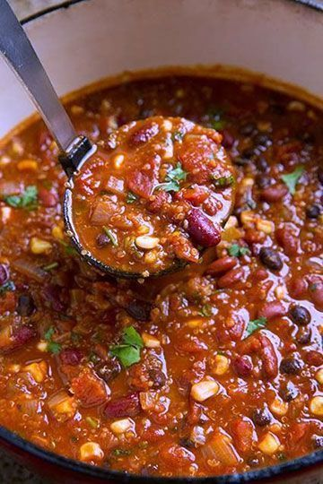 This recipe was engineered for vegetarians bodybuilders who need sufficient complete proteins. And as you know, our tribe has special needs. This is why I put quinoa in this easy to make vegetarian chili (it's a complete protein). So why not brown rice ...