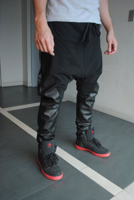 The trend of large drop crotch pants fashion PU leather  trousers mens harem pants US $29.50