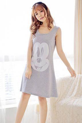 Summer Cartoon Cute Womens Cottton Nightgown Nightwear Sleeveless Lingerie PJS Girl's Sleepwear Plus Size