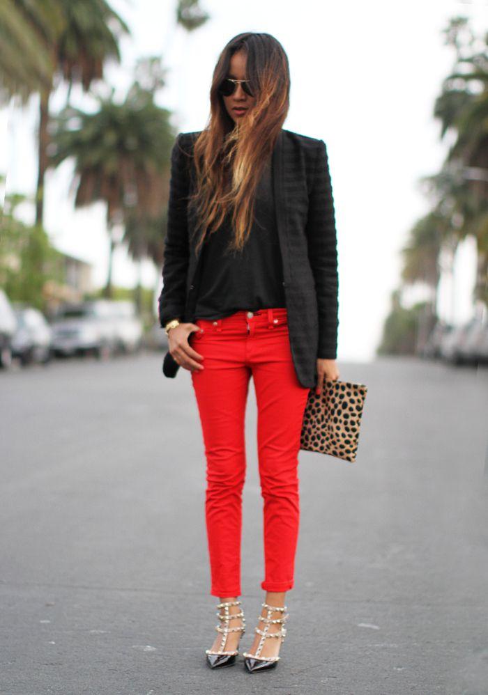 словам, с чем одевать красные брюки фото термин