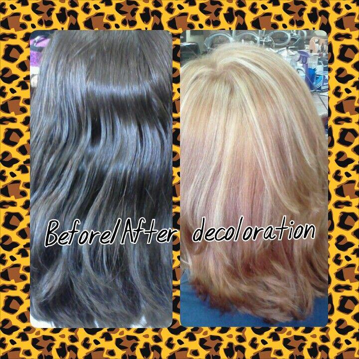Decoloration on black hair:)