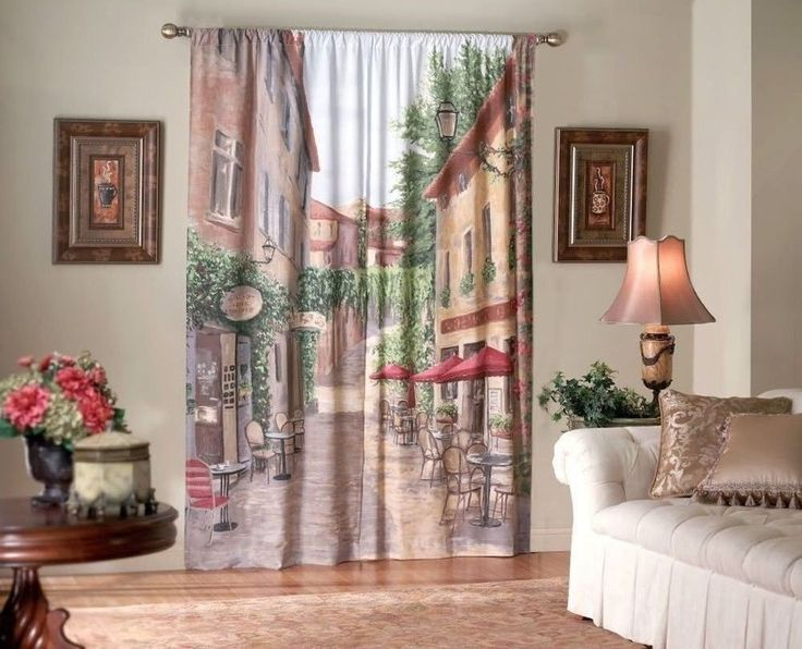 European Cafe Window Art Curtains