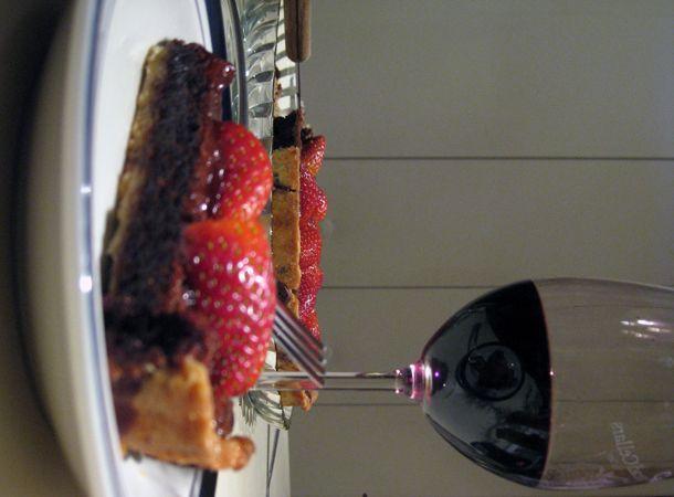 Chocolate strawberry tart...