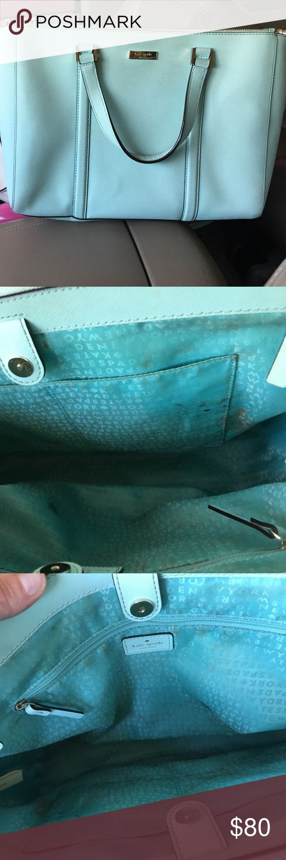 Kate Spade Handbag Briefcase size, some makeup staining on interior lining and bottom, otherwise great shape. Could be a perfect diaper bad, too! kate spade Bags Totes