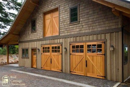 Large Garage=Must Have Classic Z Brace Carriage Doors with Side Entry & Loft Door - garage doors - Real Carriage Door Company
