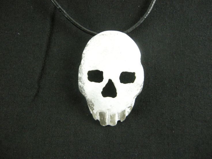 PENDANT, SPOON  SKULL, Sterling Silver Spoon,Pierced,ooak,Shaped to form a Skull,White Lead Free Enamel is Baked on, Bail is silver soldered by McWilliamsBopArt on Etsy