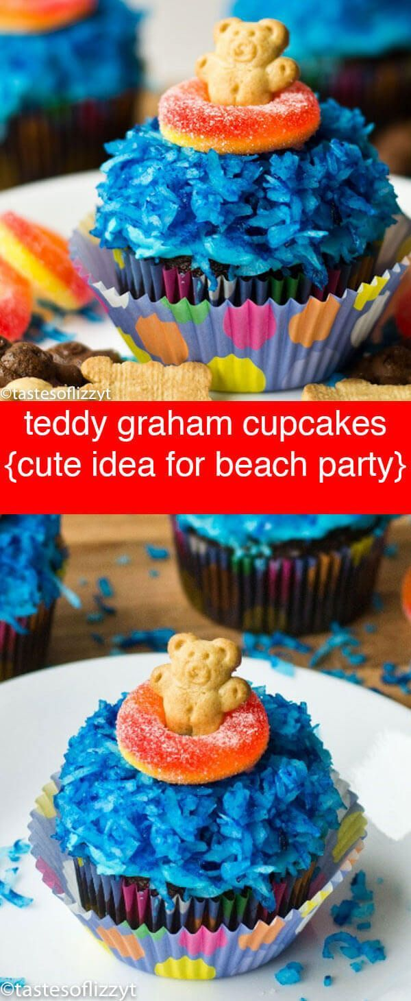 Teddy Graham Cupcakes {With Blue Water & Life Preserver Candy}  Teddy Graham Cupcakes are easy to make and so cute for a beach party, summer theme! A fun, edible craft. Kids will love making them! via @tastesoflizzyt