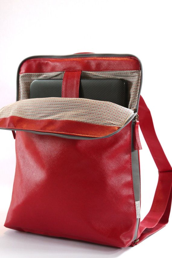Backpack Woman, Red Laptop Bag, Slim Backpack, Vegan Backpack, Red Rucksack ,Satchel Purse, Computer Bag  This light weight and convenient backpack