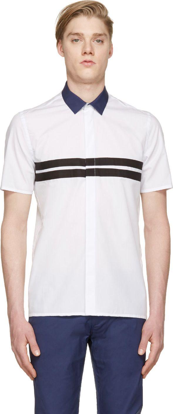 Krisvanassche White Contrast Collar Shirt