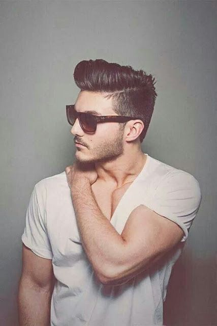 Hairstyle for man - hipster modern haircut: combined pompadour on top and shave sides