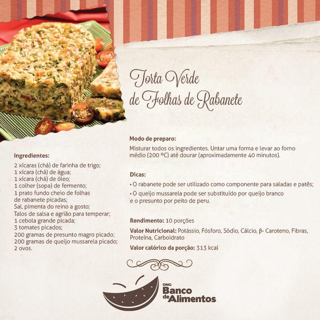 Reeducação Alimentar com Alimentação Saudável: TORTA VERDE DE FOLHAS DE RABANETE