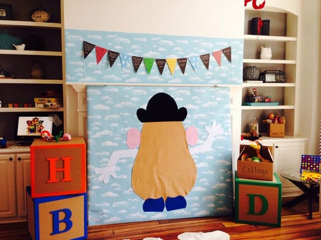 Pin the face on Mr. Potatoe Head - big peiece of cardboard, use felt or cheap fabric with gorilla tape or velcro stickies to stick